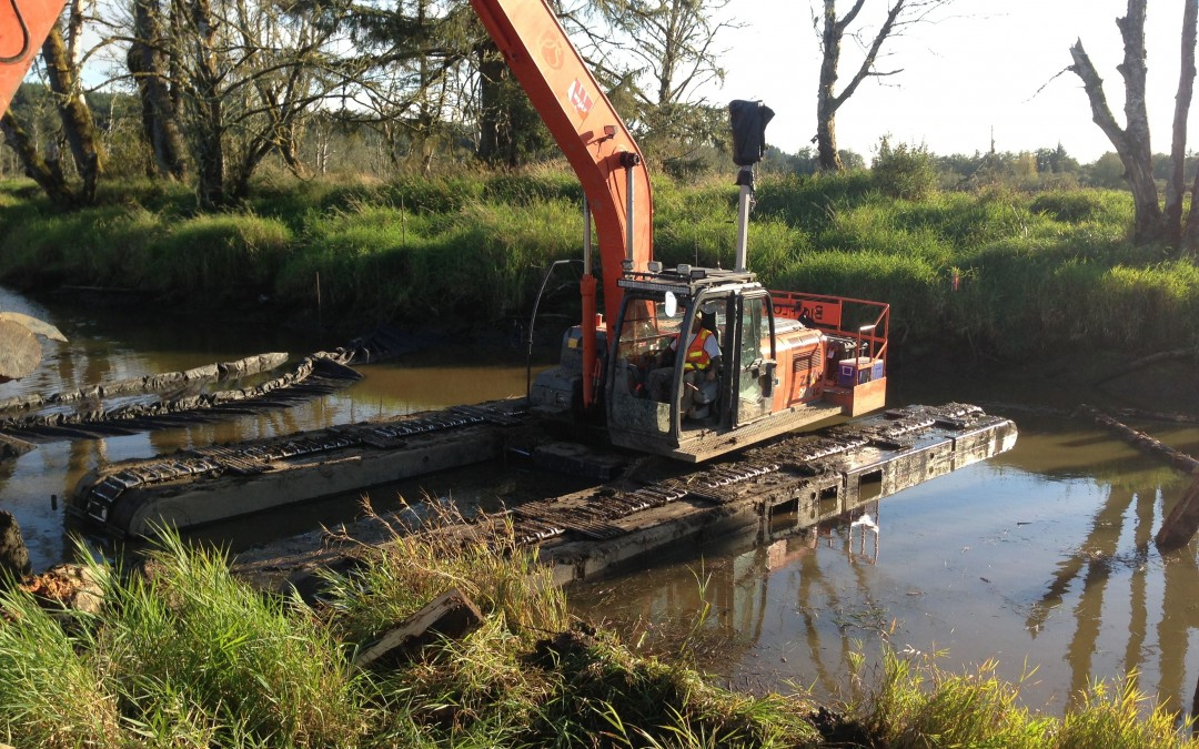 Amphibious Excavation, 24 Hour Production, Wetland materials hauling